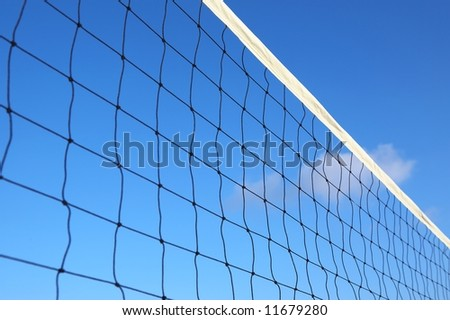 beach volleyball net on a blue sky