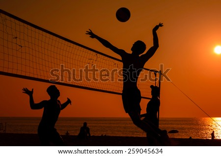 Beach volleyball silhouette  - stock photo