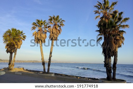 Beach Walk along Pacific ocean coast in city of City of San Buenaventura, Southern California - stock photo
