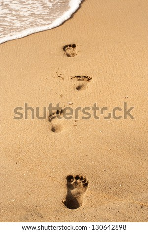Beach walk -Foot prints - stock photo