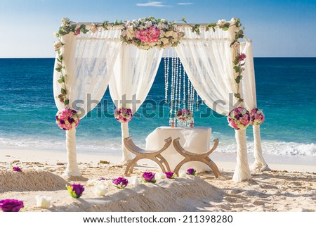 Beach Wedding Set Up Tropical Outdoor Reception Beautiful Cabana Arch