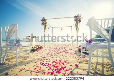 beach wedding setup - stock photo