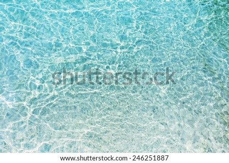 Beach white sand and turquoise shallow water of Mediterranean Sea
