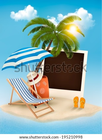 Beach with a palm tree, a photograph and a beach chair. Summer vacation concept background. Raster version. - stock photo