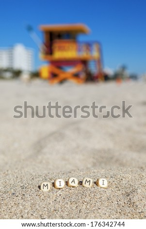 Beach with letters on the sand, Miami - stock photo