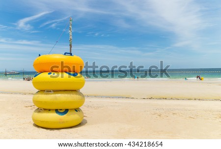 beach with lifebuoy - stock photo