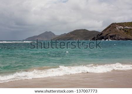 beach with mountains