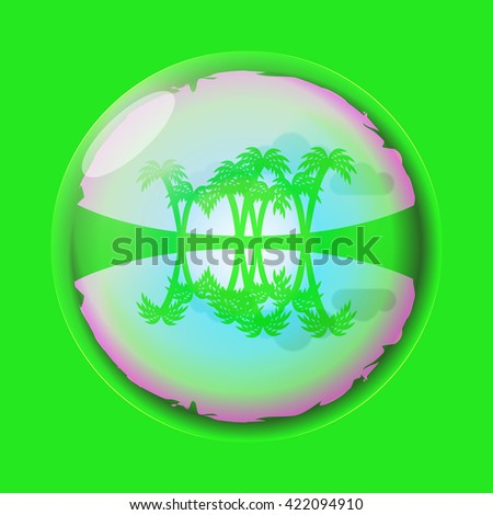 Beach with palm trees reflected in the bubble