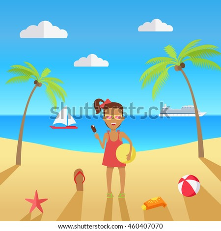 Beach with sand and palm trees in shiny day. Girl in sunglasses with ice cream and a ball in her hands. Summer vacation concept.  illustration