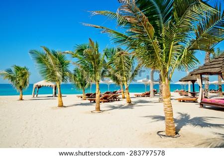 Beach with sun loungers, Dubai, United Arab Emirates  - stock photo
