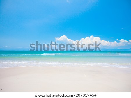beach with white sand and sea - stock photo