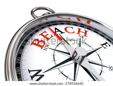 beach word on conceptual compass on white background