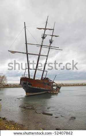 Beached Ship - stock photo