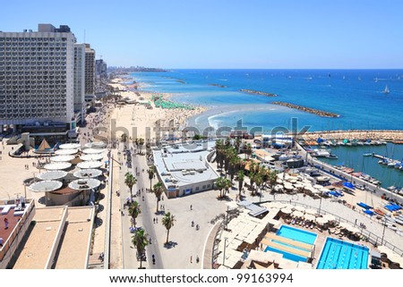 Beaches and coastline of Tel Aviv. Mediterranean Sea. Israel. - stock photo