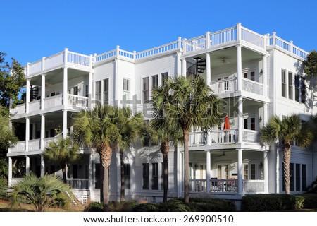 Beachside condos or apartments   - stock photo