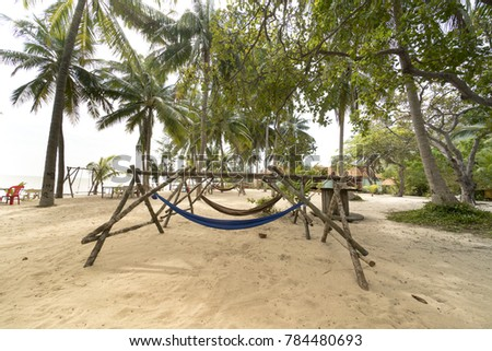 beachside hammock tied to a tree with relaxing holiday on the white sand tropical beach and beachside hammock tied tree relaxing holiday stock photo 784480693      rh   shutterstock