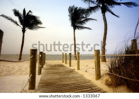 Beachwalk to the beach, Florida - stock photo