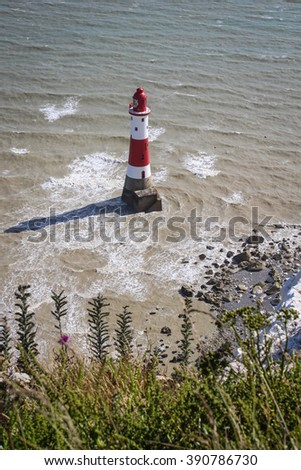 Beachy Head, UK, Eastbourne. Day walk from Seaford to Eastbourne in East Sussex (South Downs National Park, Seven Sisters Cliffs) - stock photo