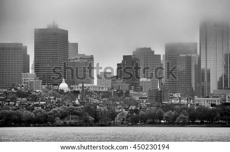 Beacon Hill Boston from across Charles river, black and white - stock photo