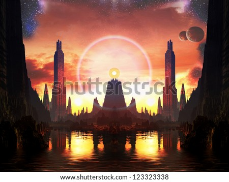 Beacon of Light in Future Metropolis - stock photo