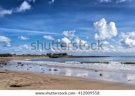 Beadnell beach on the Northumberland coast in England