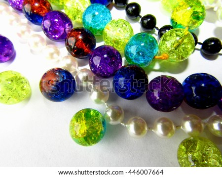 Beads and beads separately on a white background - stock photo