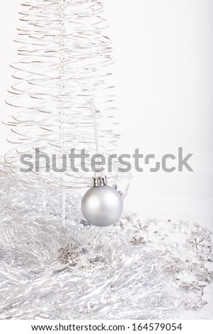 beads, bead and shiny Christmas tree on a white background. Close up