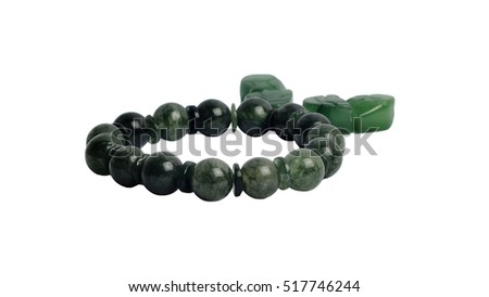 Beads Green Crackle Agate Bracelet and Jade pendant with white isolated background. It is believed that Strengthening peace and concentration,