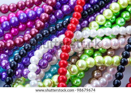 Beads necklace close up background - stock photo