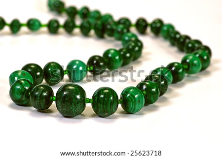 beads, necklace made of green stone heliotrope - stock photo