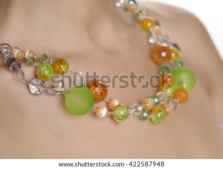 Beads on a female neck