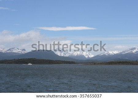 BEAGLE CHANNEL, ARGENTINA - NOVEMBER 16,2014:The Beagle channel separating the main island of the archipelago of Tierra del Fuego and lying to the South of the island.