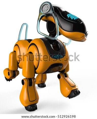 beagle the cyber dog is walking 3d illustration