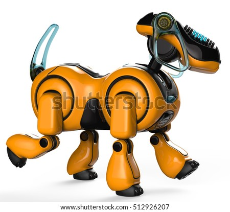 beagle the cyber dog side view 3d illustration