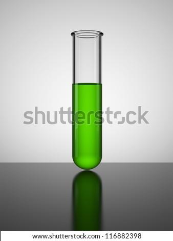 Beaker with green liquid. Test tube. - stock photo