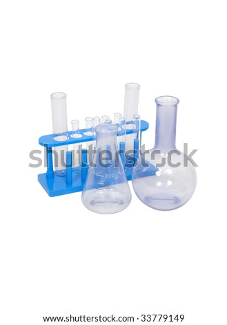 Beakers used to measure and store liquids during research projects - path included