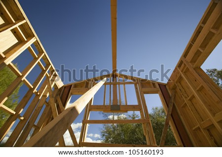 Beam of a home under construction during framing process in Southern California
