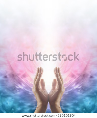 Beaming Reiki Healing Energy - Male parallel hands facing upwards with a beam of bright white energy flowing up on a pink and blue ethereal energy formation background
