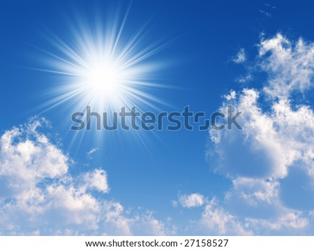 beams of the sun which are making the way through clouds in the blue sky