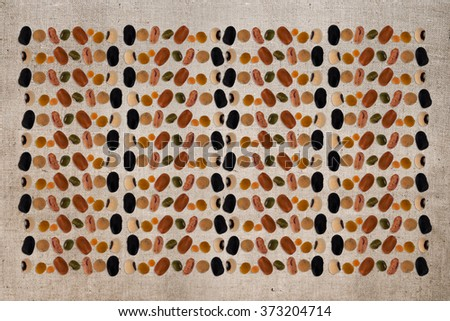 Bean and lentil background, hessian behind. Vegetarian, vegan! - stock photo