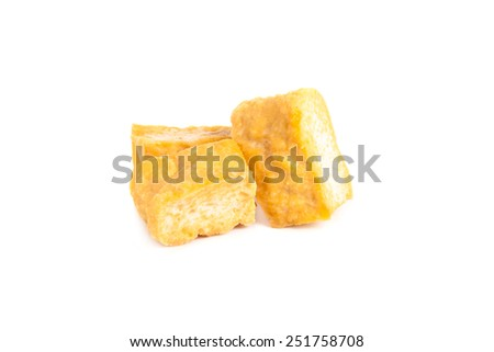 Bean curd tofu over white background - stock photo