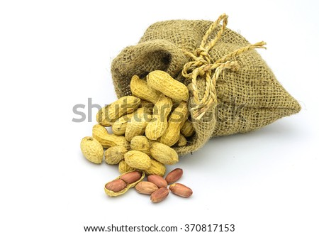 Bean in sack with clear white background