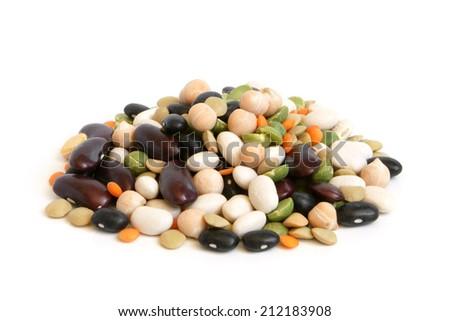 Bean mix on a white background - stock photo