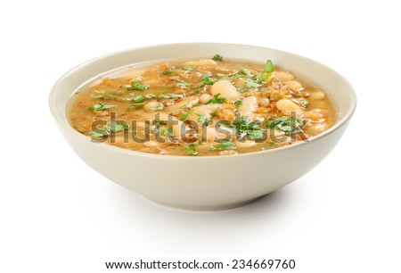 bean soup in a bowl. Isolated over white - stock photo
