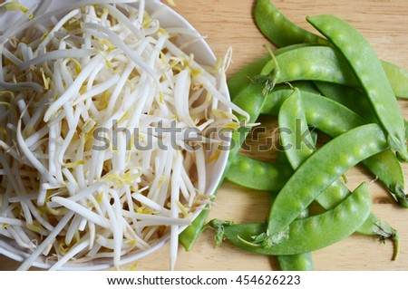 bean sprouts for cooking in blow,  sprouts of bean
