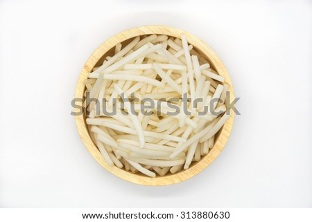 Bean Sprouts on round wooden bowl on white background,  top view - stock photo