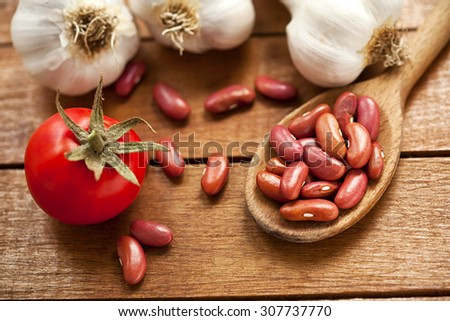 beans and fresh vegetables - stock photo