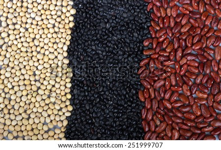 Beans - Black pointed, Yellow, red beans