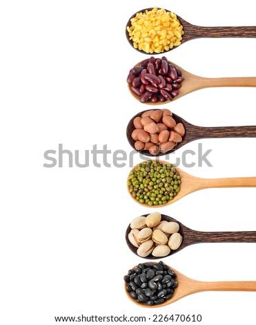 Beans on white background - stock photo