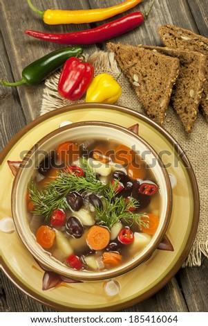 Beans vegetarian soup - stock photo